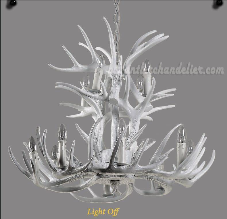 12 Cast Deer Antler Chandelier Pure White Ceiling Lights ...