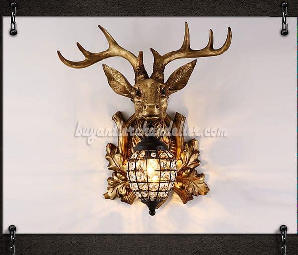 aliveGOT Vintage Deer Head Antler Pendant Necklace Crystal Deer Head Pendant Necklace Mens Womens