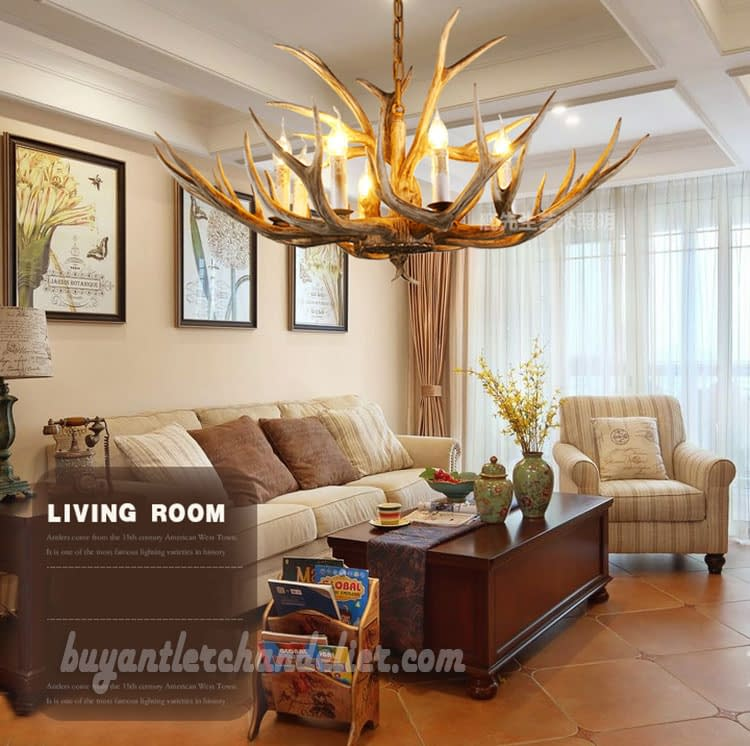 Eight Deer Antler Chandelier Natural Color 8 Candle-Style ...