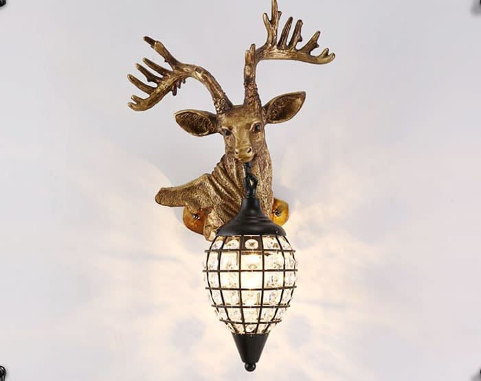Reindeer Head Antler Wall Sconces Lamps Faux Taxidermy