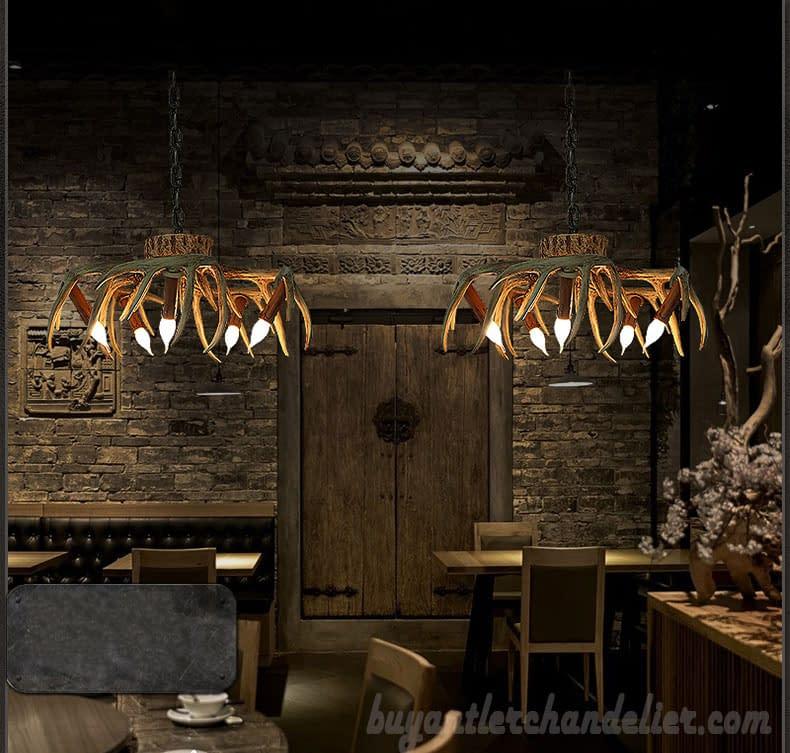 5 Cast Deer Antler Chandelier Inverted Hanging Ceiling ...