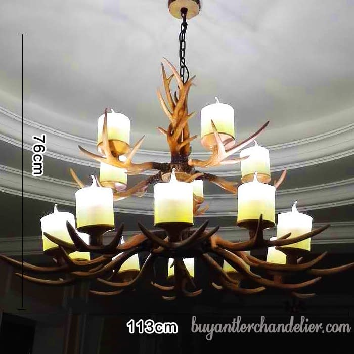 Clic 15 Cast Deer Antler Chandeliers Two Tiered Cascade Unique Rustic Light Fixtures Decor Gl Lamp Shades