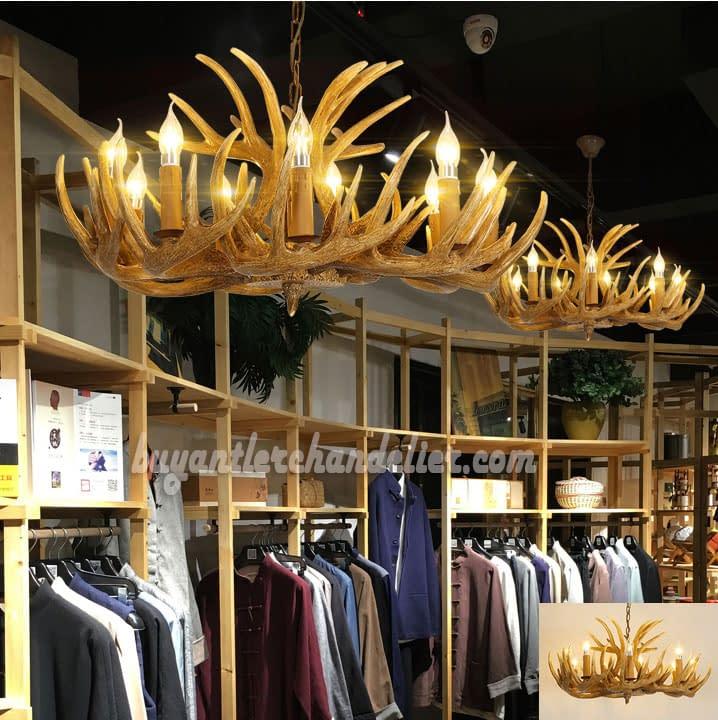 Antique 12 Cast Whitetail Deer Antler Chandelier 9 Candelabra Ceiling Lights Cascade Rustic Lighting Fixtures