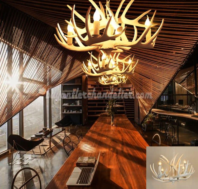 Pure White Deer Antler Chandelier 4 Cast Candle-Style Bedroom Ceiling  Lights Rustic Lighting Fixtures Decor