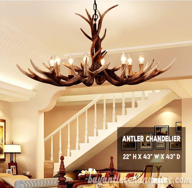 Deluxe 8 Cast Elk Antler Chandelier Candelabra Pendant Light Living Room Rustic Lighting Fixtures Decoration 43