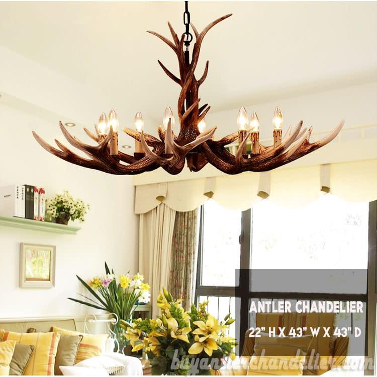 Deluxe 8 Cast Elk Antler Chandelier Candelabra Pendant Light Living Room  Rustic Lighting Fixtures Decoration 43\
