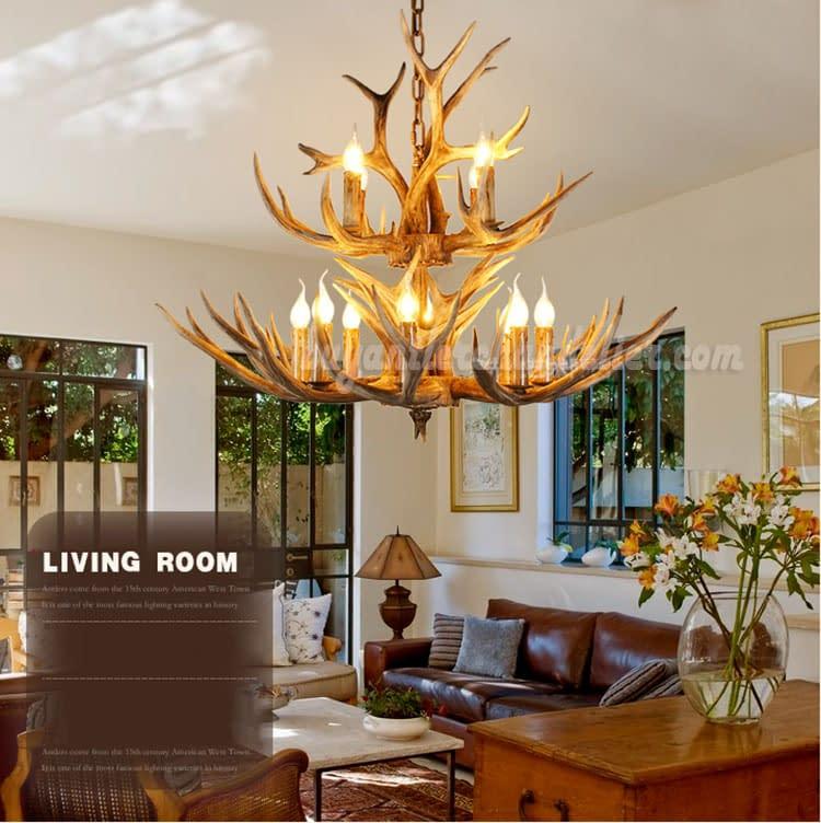 12 Deer Antler Chandelier 8 4 Cast Cascade Candle Style Rustic Lighting Fixtures Ceiling Lights