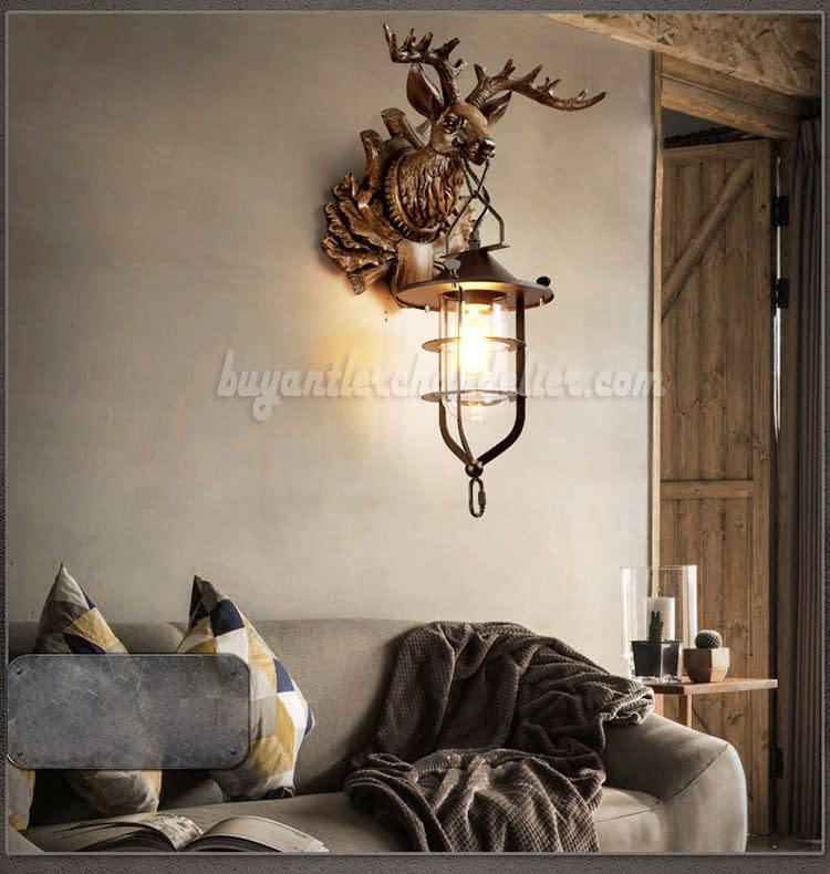 Deer Head Wall Lamps Lantern Reindeer Faux Taxidermy Sculpture Rustic Pendant Lighting Mount Decor