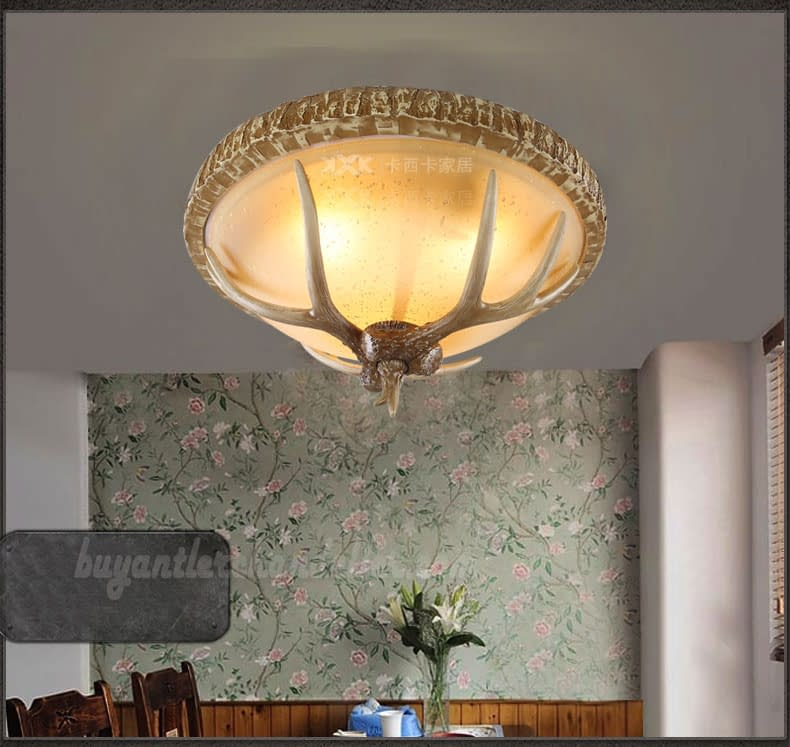 Best 3 Cast Deer Antler Ceiling Lamp Mount Lights Vintage Design Rustic Lighting Fixtures