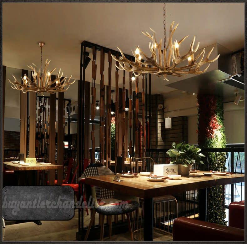 Elk Deer 6 Antler Chandelier Six Candle Style Hanging Lights Rustic Style Lighting Home Decor Fixtures