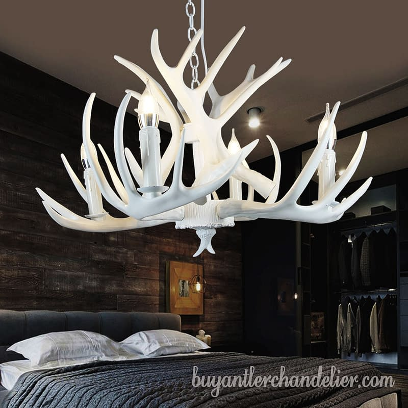 Pure White Deer Antler Chandelier 4 Cast Candle-Style Bedroom Ceiling  Lights Rustic Lighting Fixtures Decor