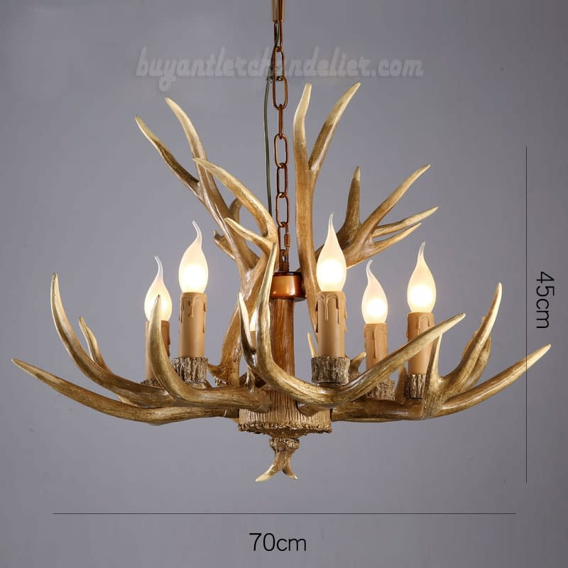 Elk Deer 6 Antler Chandelier Six Candle Style Hanging Lights Rustic Lighting Home Decor Fixtures
