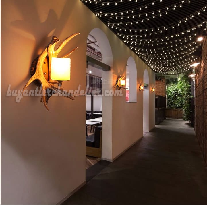 2 Cast Deer Antler Wall Lamp Sconces Decor Corridor Light Porch Lights Rustic Candle Style Lighting Fixtures