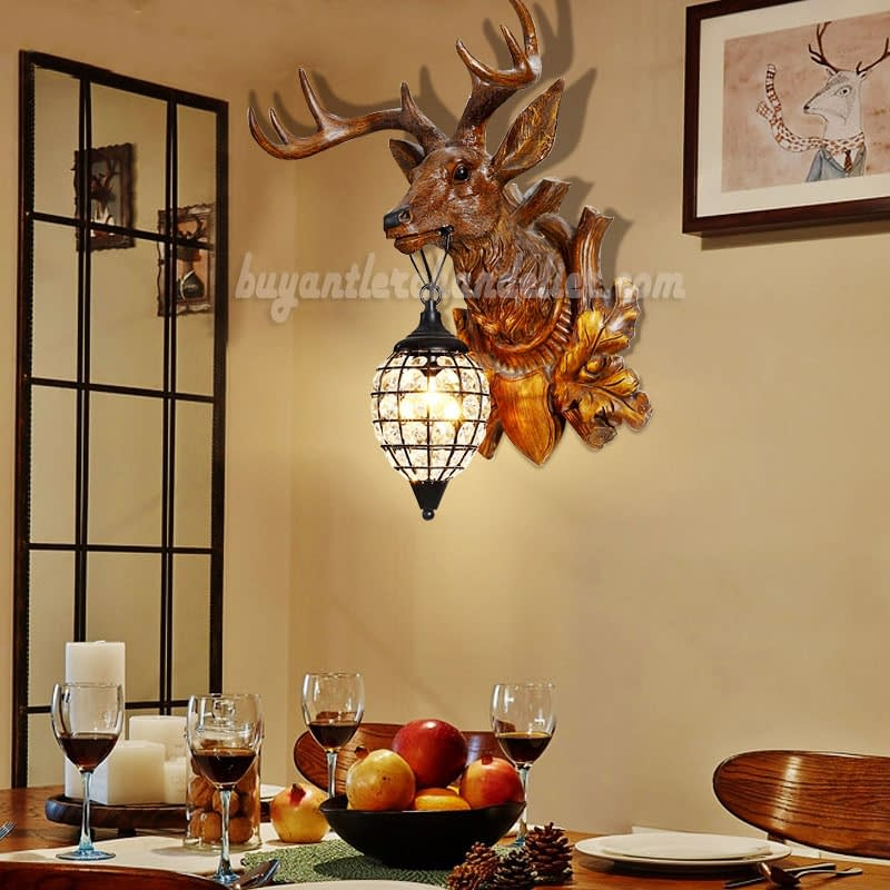 Deer Head Wall Lamps Crystal Lights Faux Wood Taxidermy