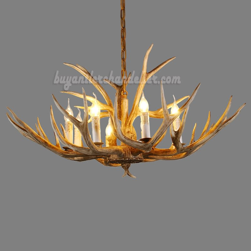 Eight Deer Antler Chandelier Natural Color 8 Candle Style Ceiling Lights Rustic Lighting Fixtures