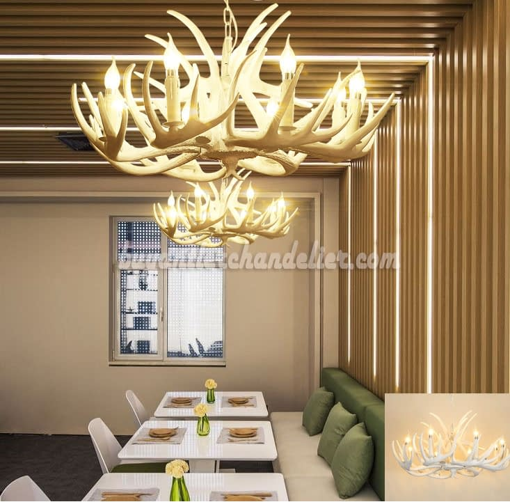 Pure White 8 Deer Antler Chandelier Eight Ceiling Lights