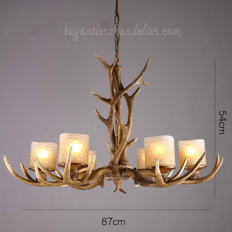 Elk 6 Antler Chandelier Six Cast Candle Style Pendant Lights Rustic Ceiling Lighting Lamp Chimney