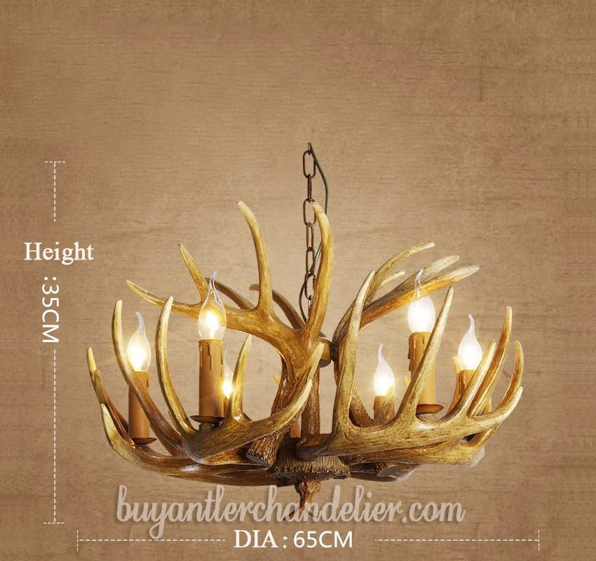 Antique 6 Cast Faux Antler Chandeliers Candelabra Pendant Ceiling Lights Rustic Lighting Fixtures For Kitchen Dining Room With Plug